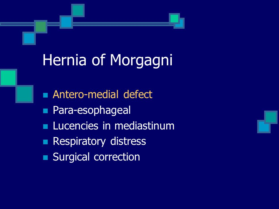 Hernia of Morgagni Antero-medial defect Para-esophageal