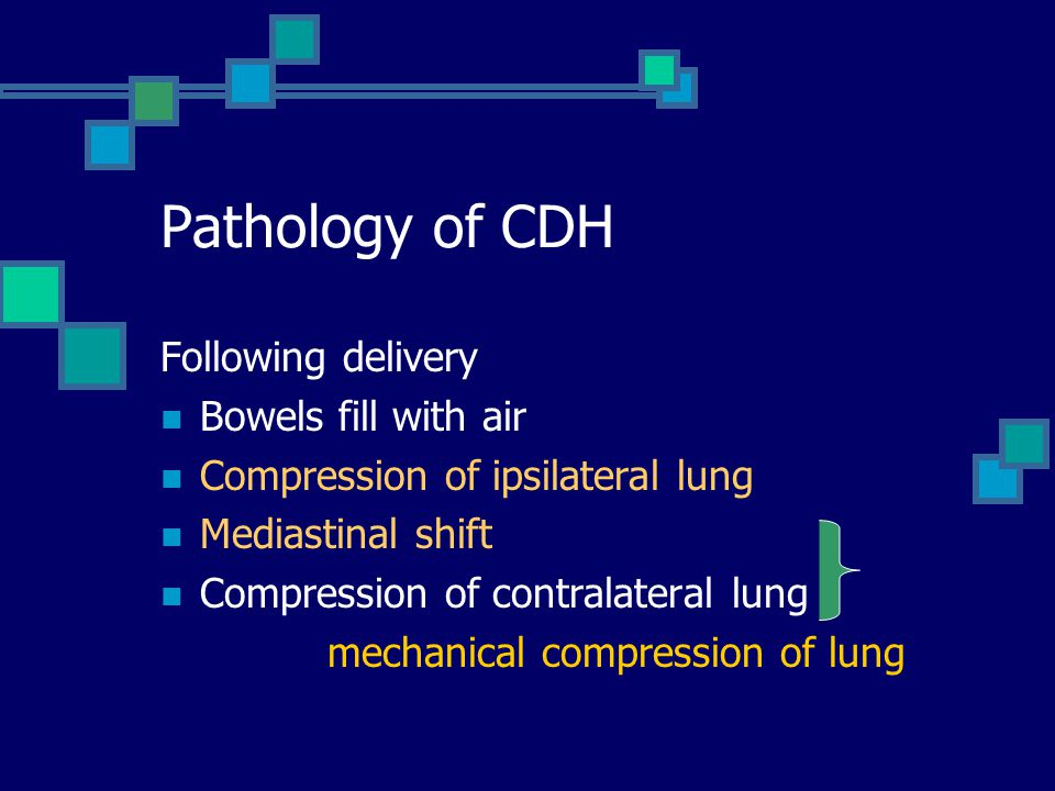Pathology of CDH Following delivery Bowels fill with air