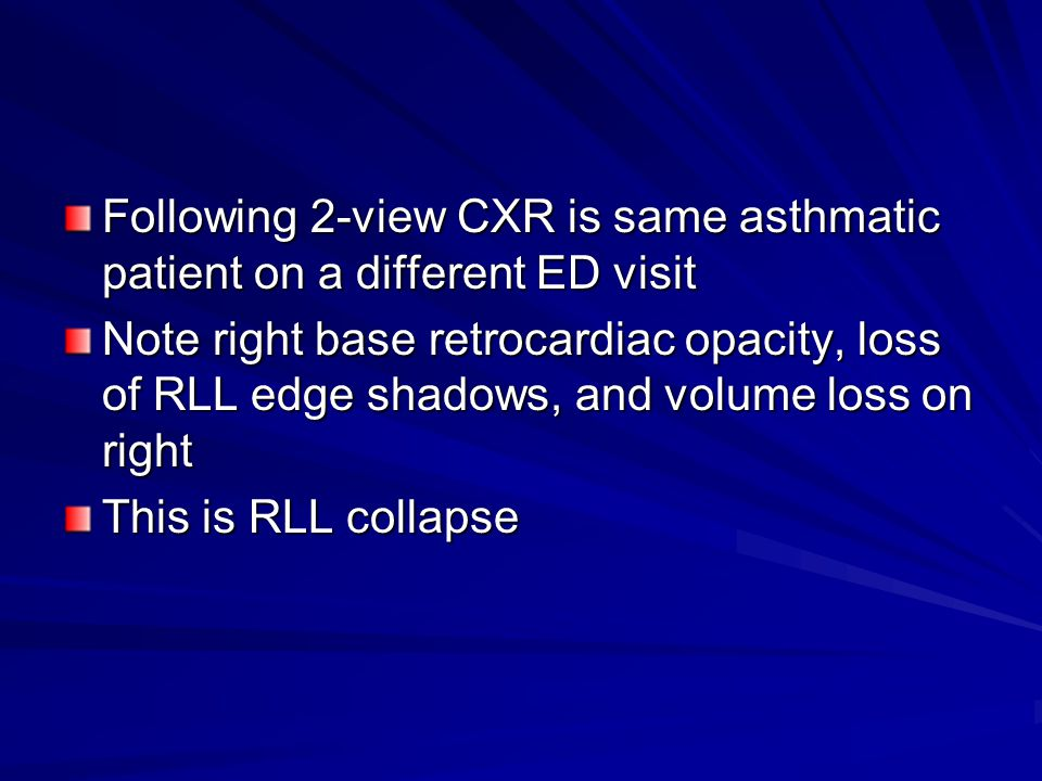 Following 2-view CXR is same asthmatic patient on a different ED visit