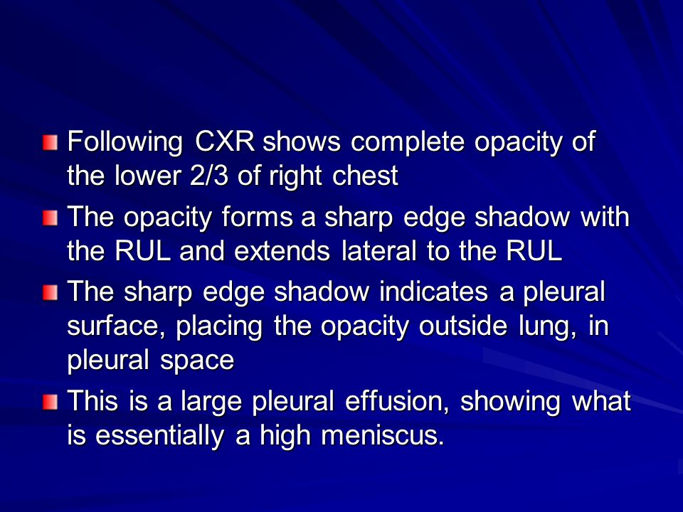 Following CXR shows complete opacity of the lower 2/3 of right chest