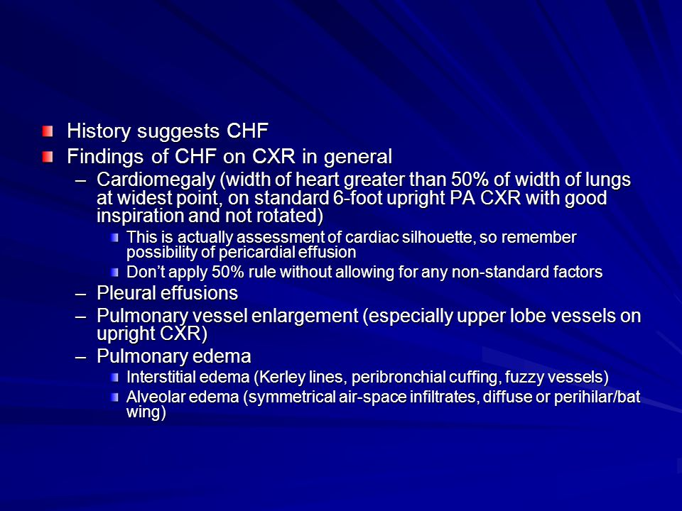 Findings of CHF on CXR in general