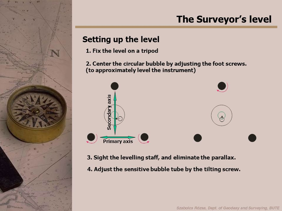 The Surveyor's level Setting up the level 1. Fix the level on a tripod