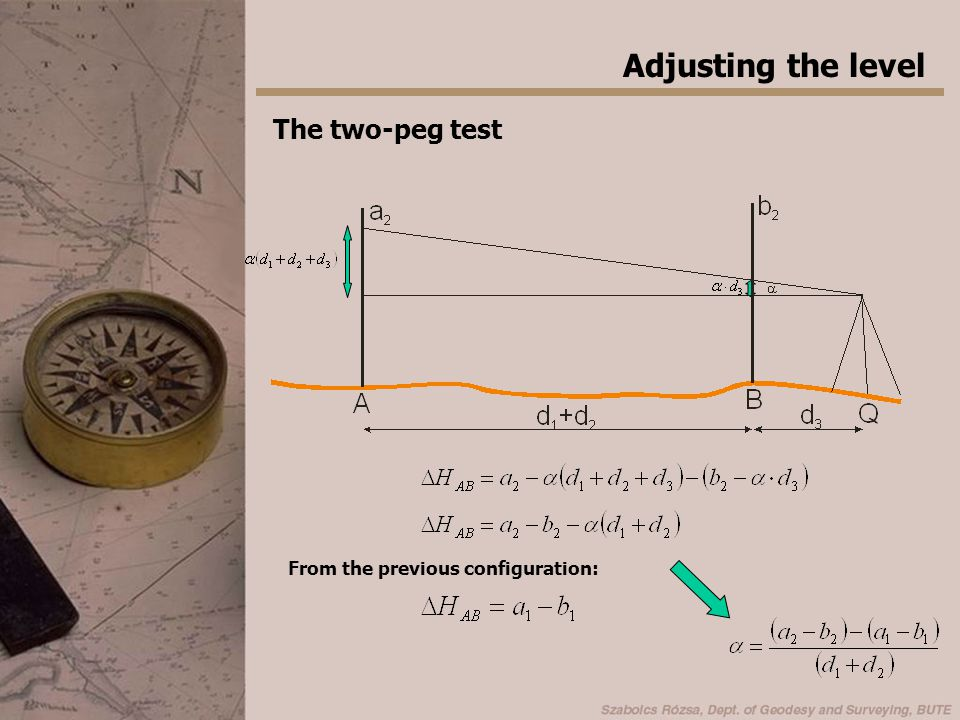 Adjusting the level The two-peg test From the previous configuration: