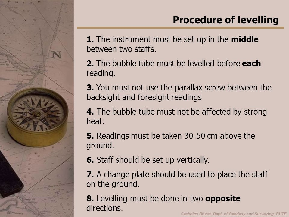 Procedure of levelling