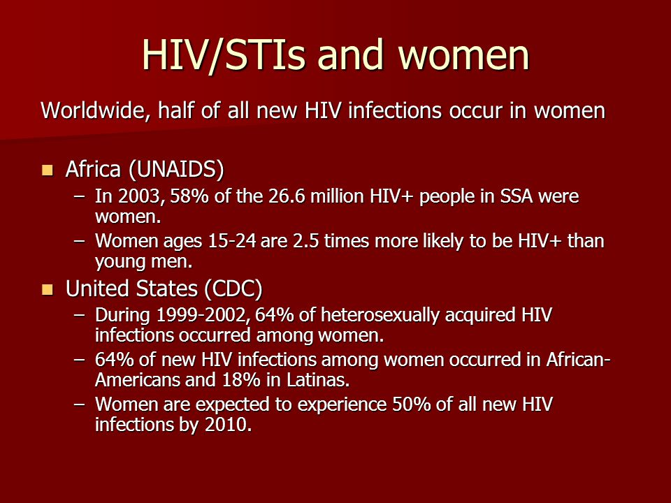 HIV/STIs and women Worldwide, half of all new HIV infections occur in women. Africa (UNAIDS)