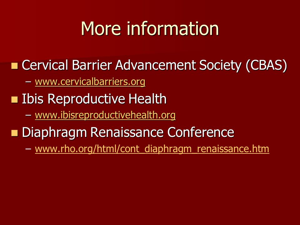 More information Cervical Barrier Advancement Society (CBAS)