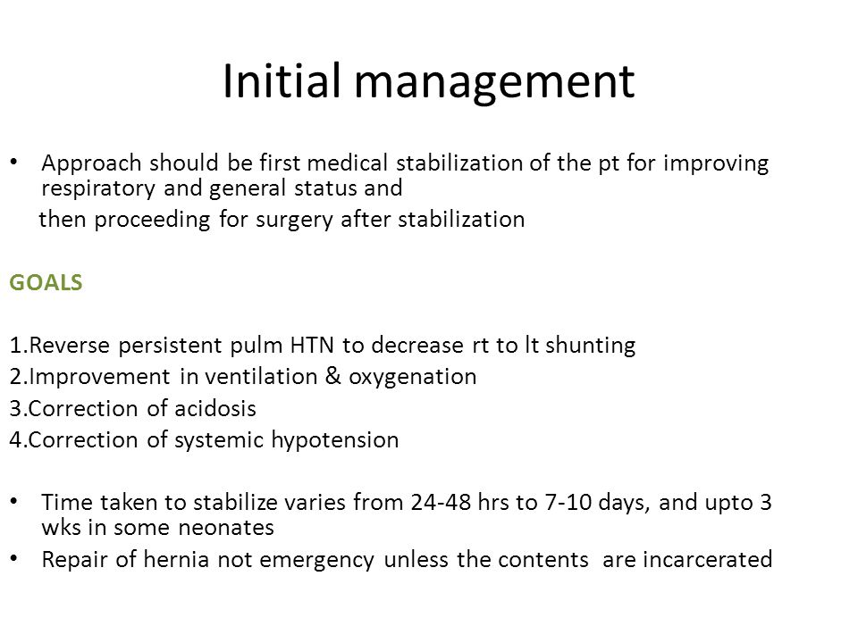 Initial management Approach should be first medical stabilization of the pt for improving respiratory and general status and.