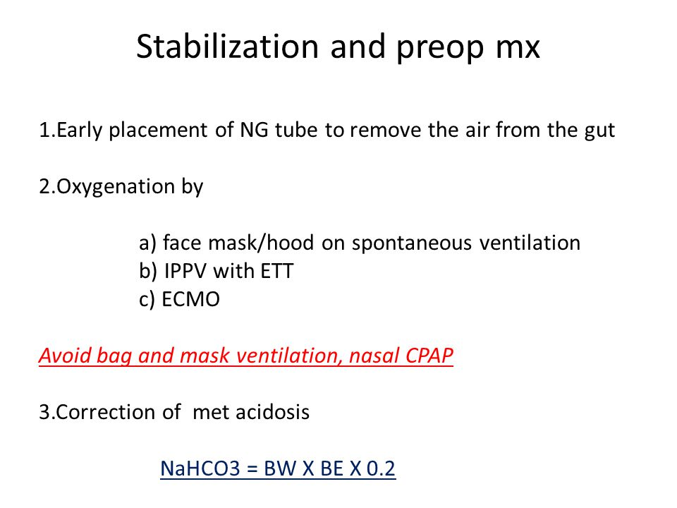 Stabilization and preop mx