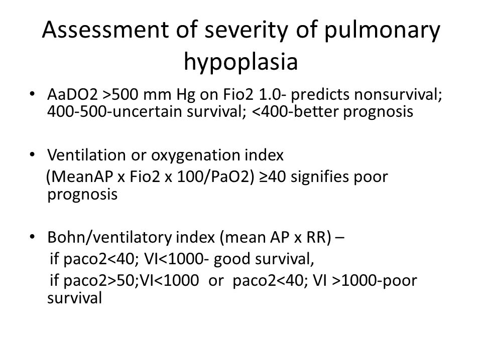 Assessment of severity of pulmonary hypoplasia