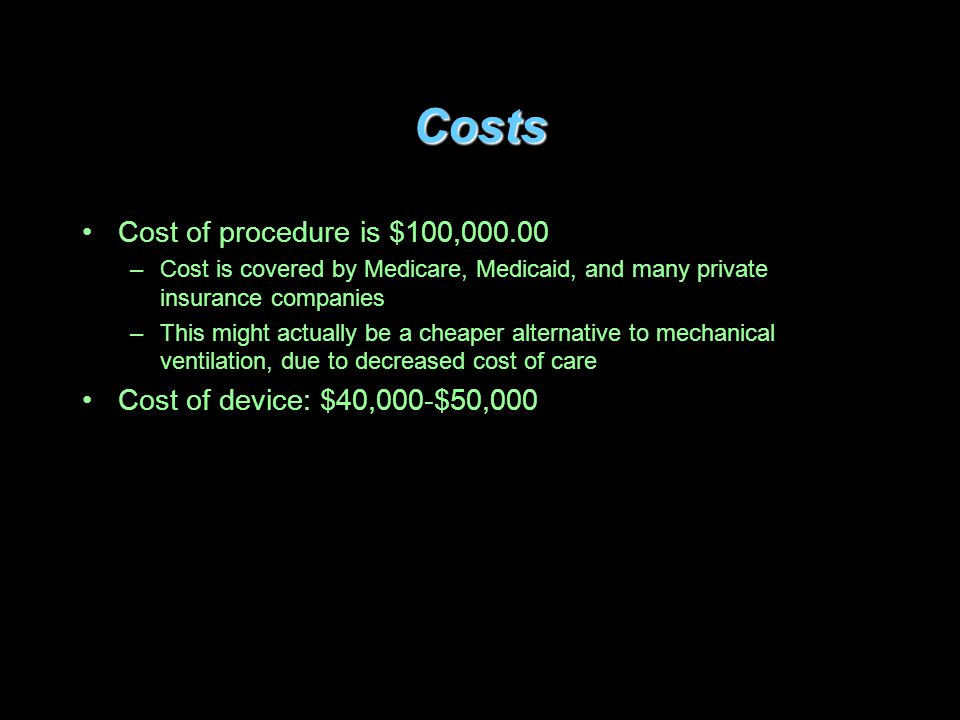 Costs Cost of procedure is $100,000.00 Cost of device: $40,000-$50,000