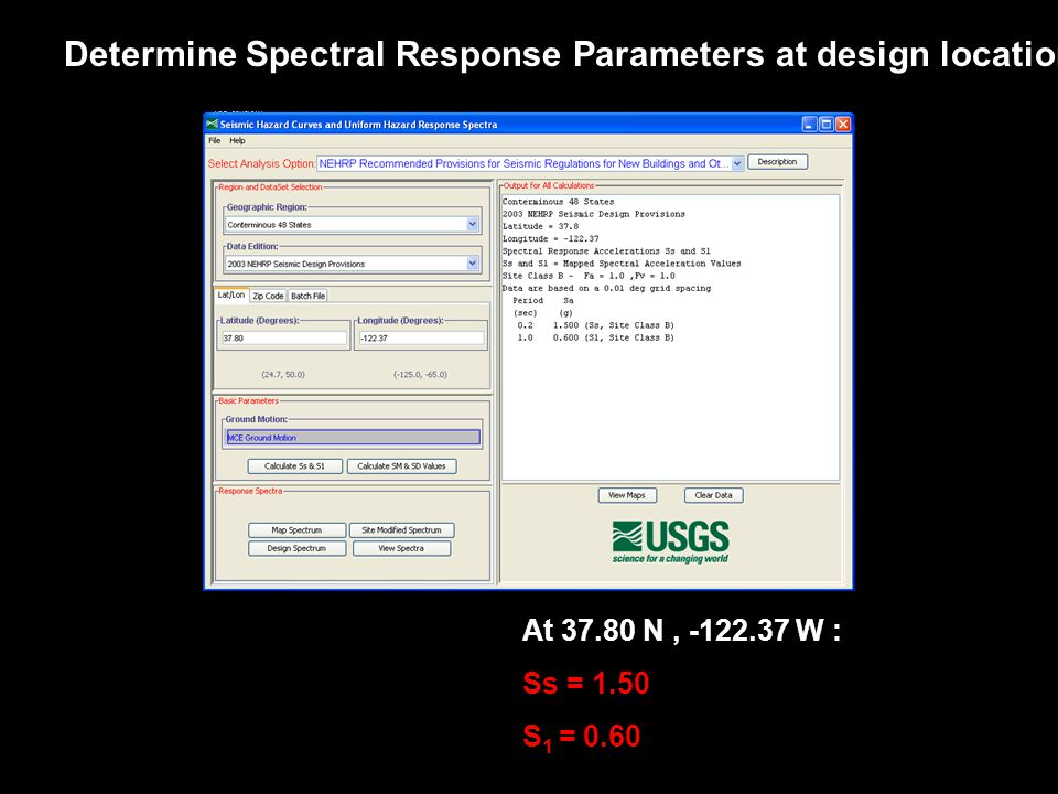 Determine Spectral Response Parameters at design location