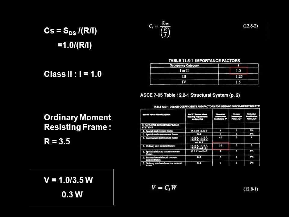Cs = SDS /(R/I) =1.0/(R/I) Class II : I = 1.0. Ordinary Moment Resisting Frame : R = 3.5. V = 1.0/3.5 W.