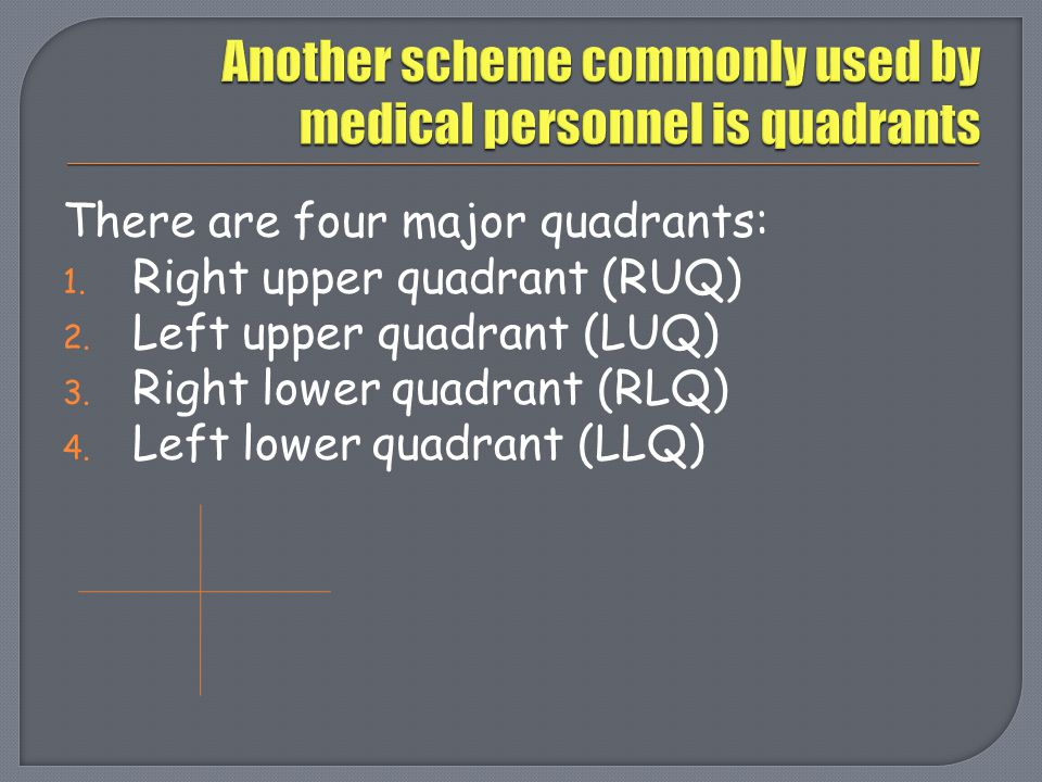 Another scheme commonly used by medical personnel is quadrants