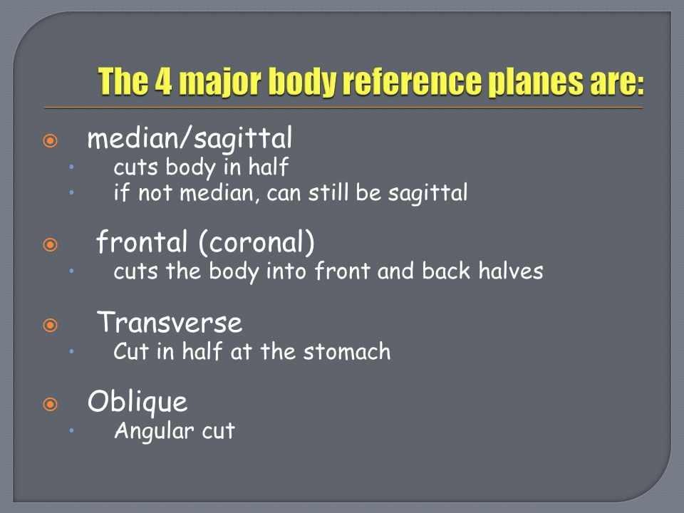 The 4 major body reference planes are: