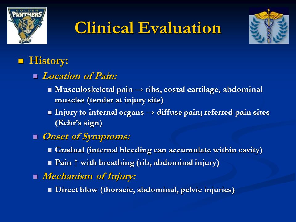 Clinical Evaluation History: Location of Pain: Onset of Symptoms: