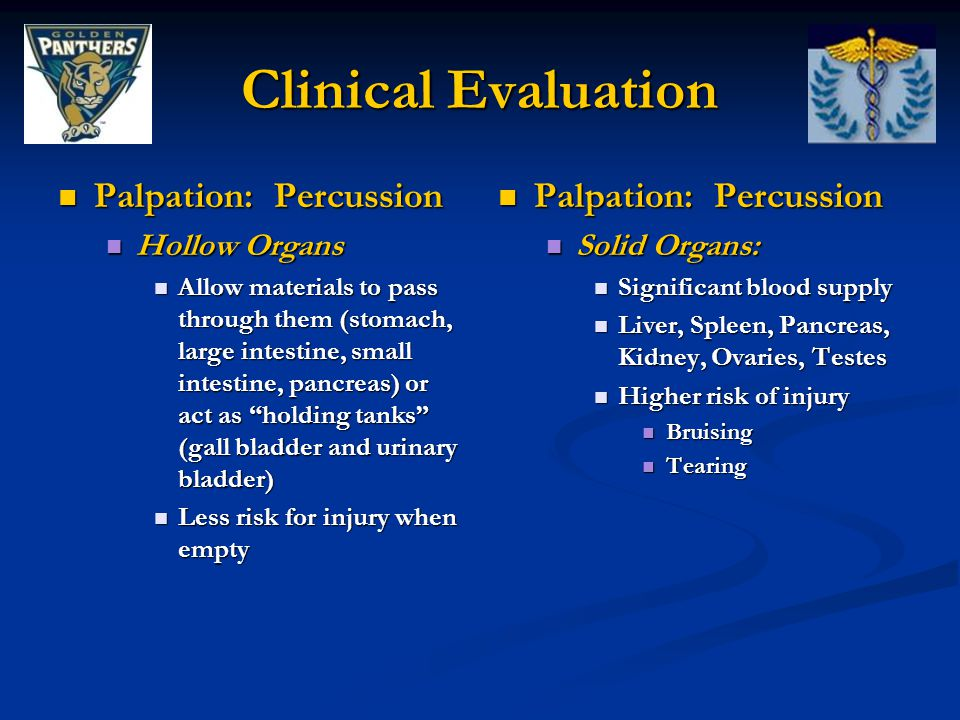 Clinical Evaluation Palpation: Percussion Palpation: Percussion