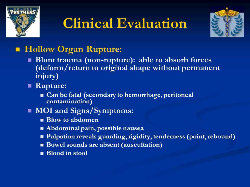 Clinical Evaluation Hollow Organ Rupture: