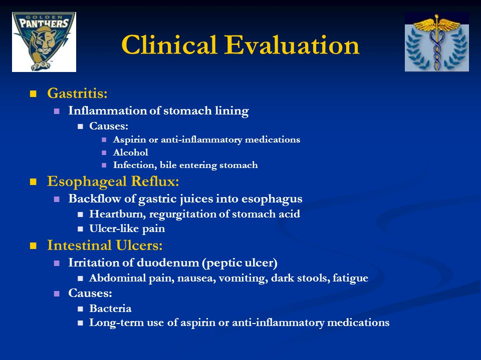 Clinical Evaluation Gastritis: Esophageal Reflux: Intestinal Ulcers: