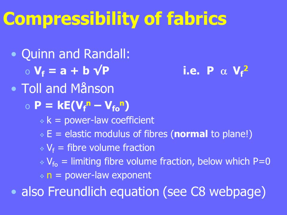 Compressibility of fabrics