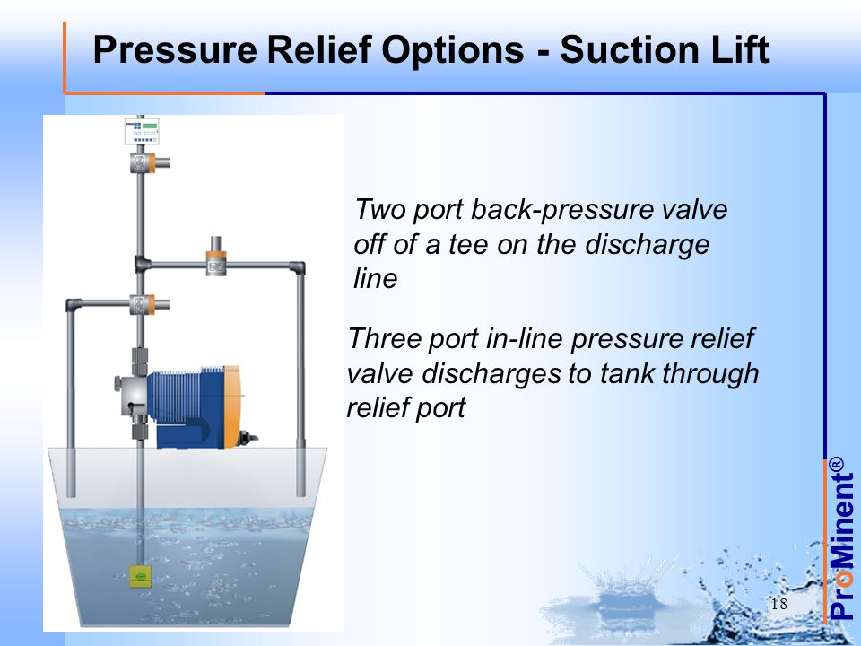 Pressure Relief Options - Suction Lift