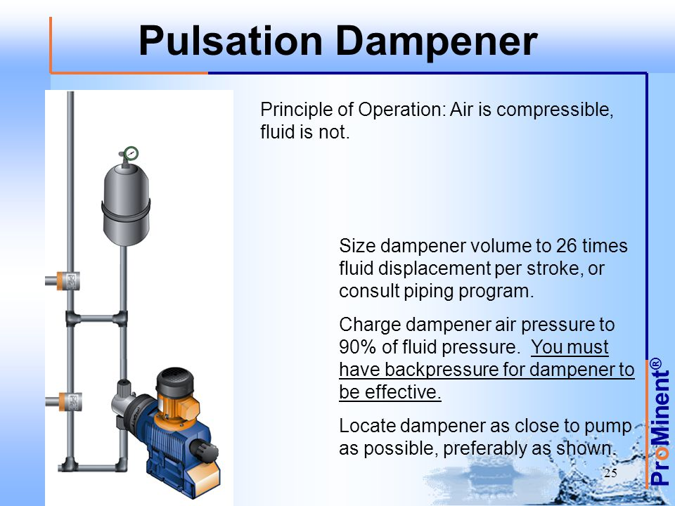 Pulsation Dampener Principle of Operation: Air is compressible, fluid is not.