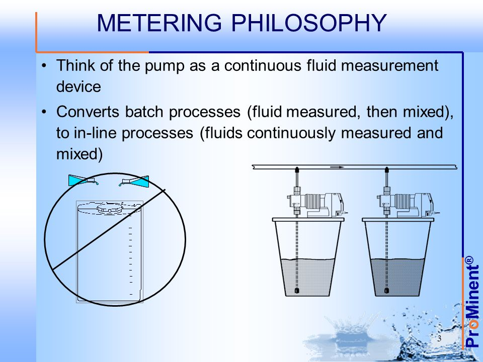 METERING PHILOSOPHY Think of the pump as a continuous fluid measurement device.