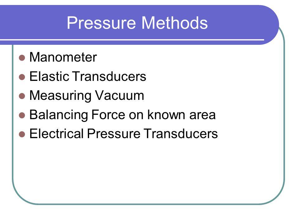 Pressure Methods Manometer Elastic Transducers Measuring Vacuum