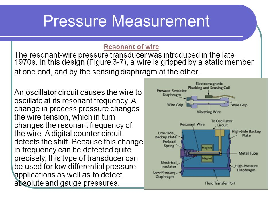 Pressure Measurement Resonant of wire. The resonant-wire pressure transducer was introduced in the late.
