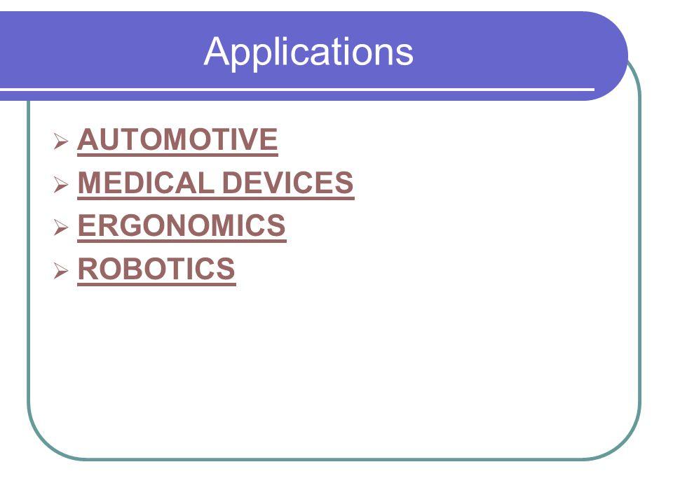 Applications AUTOMOTIVE MEDICAL DEVICES ERGONOMICS ROBOTICS