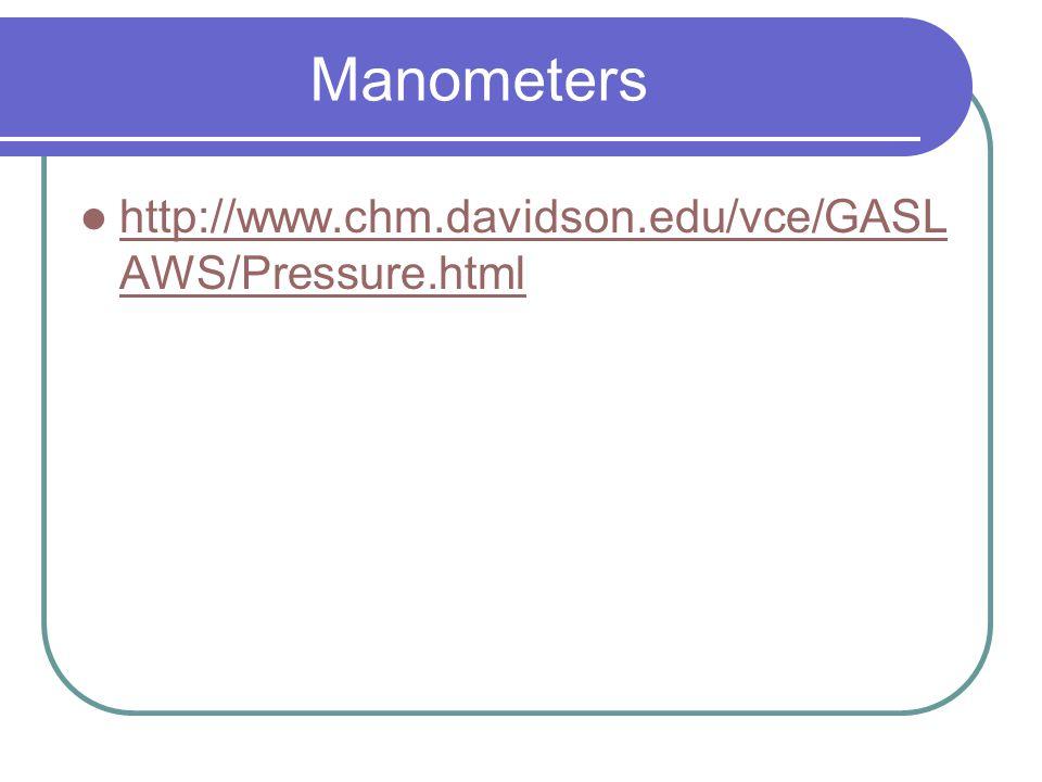 Manometers http://www.chm.davidson.edu/vce/GASLAWS/Pressure.html