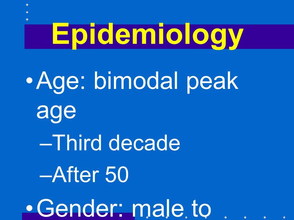 Epidemiology Age: bimodal peak age Gender: male to female = 1.3 to 1.0