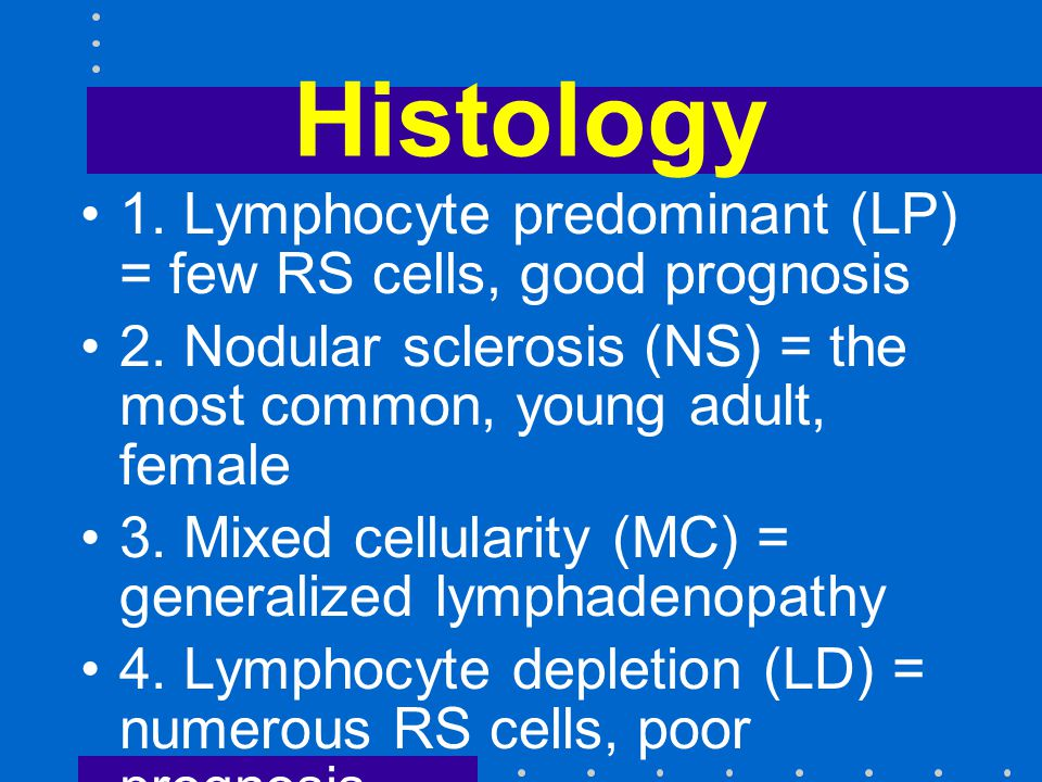 Histology 1. Lymphocyte predominant (LP) = few RS cells, good prognosis. 2. Nodular sclerosis (NS) = the most common, young adult, female.