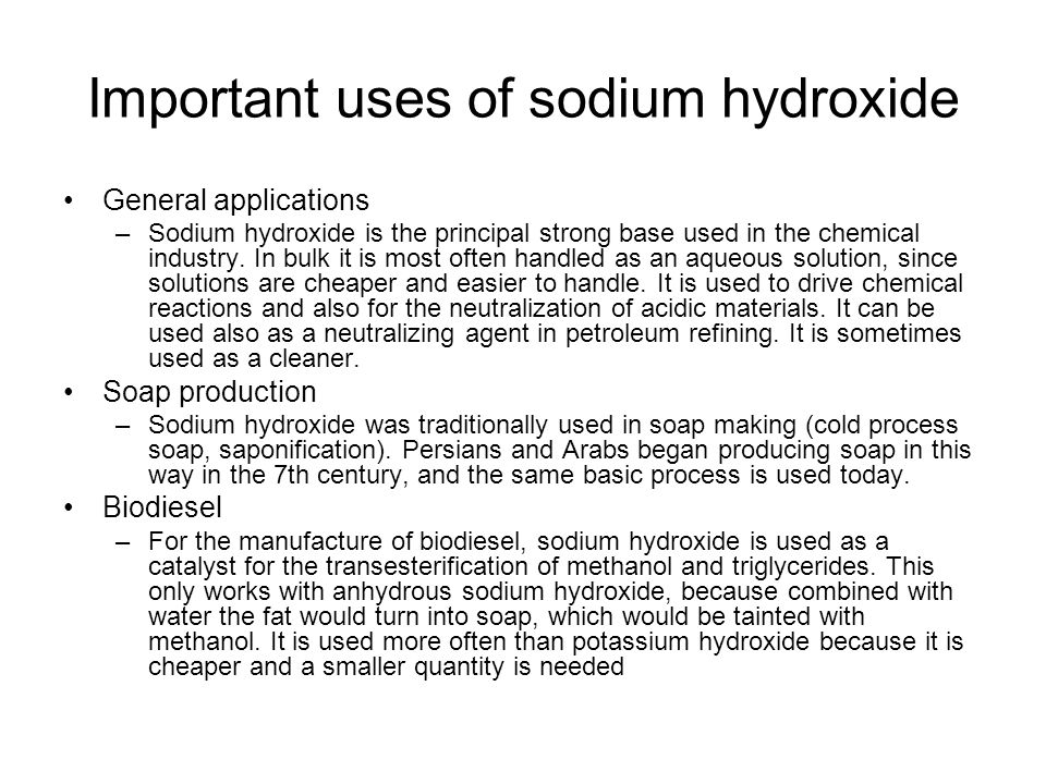 Important uses of sodium hydroxide