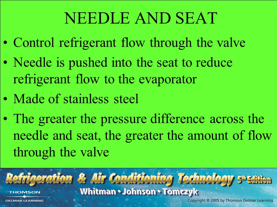 NEEDLE AND SEAT Control refrigerant flow through the valve