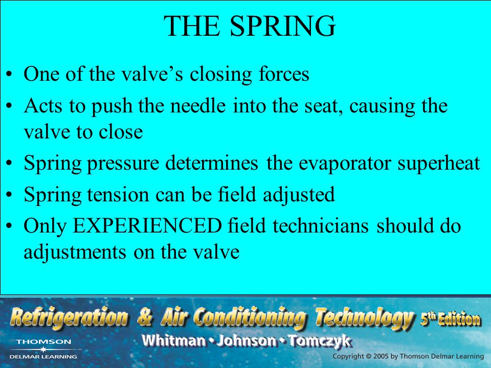 THE SPRING One of the valve's closing forces