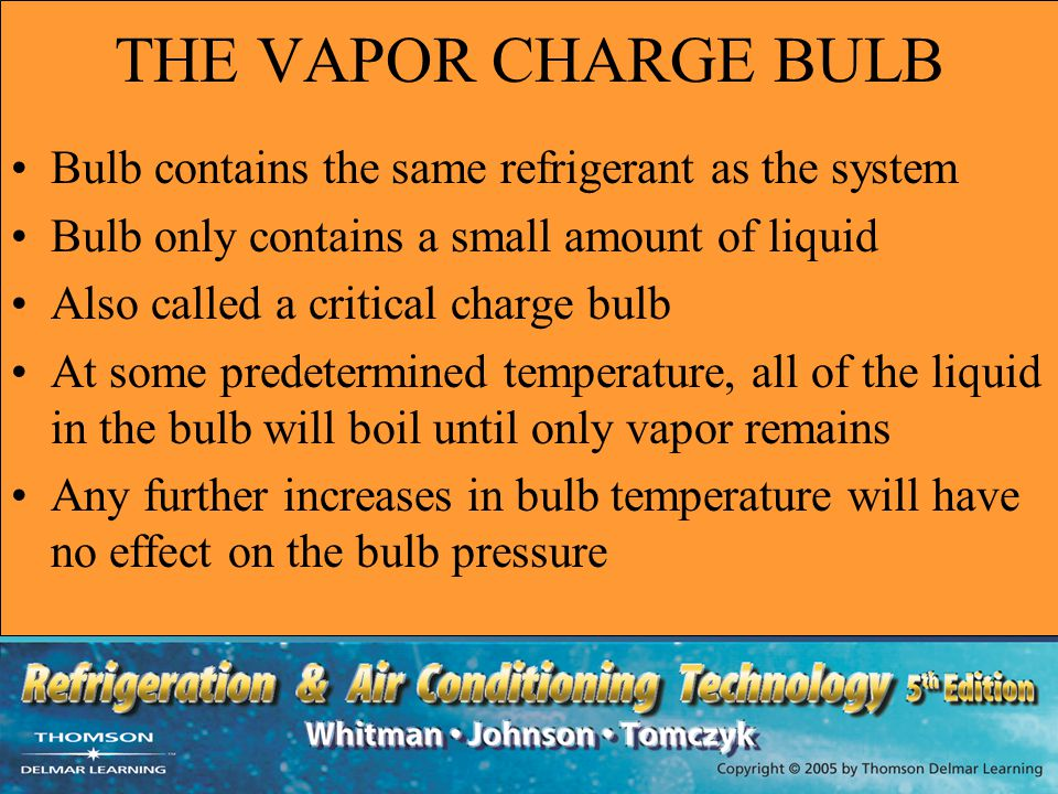 THE VAPOR CHARGE BULB Bulb contains the same refrigerant as the system