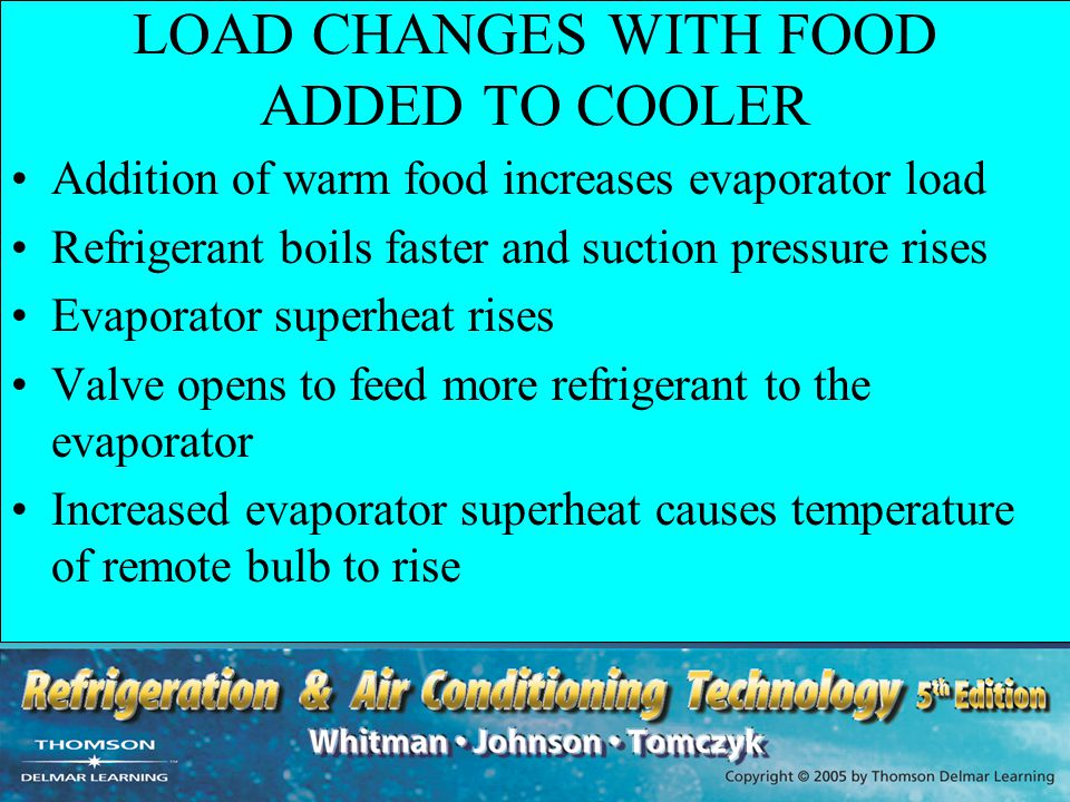 LOAD CHANGES WITH FOOD ADDED TO COOLER
