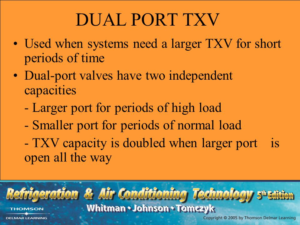 DUAL PORT TXV Used when systems need a larger TXV for short periods of time. Dual-port valves have two independent capacities.