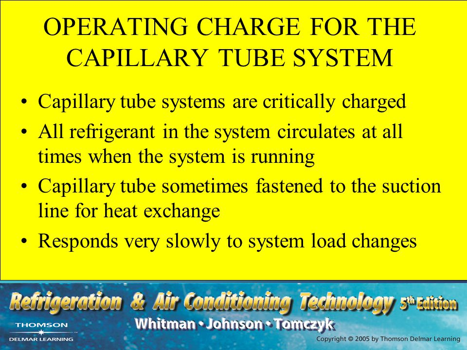 OPERATING CHARGE FOR THE CAPILLARY TUBE SYSTEM
