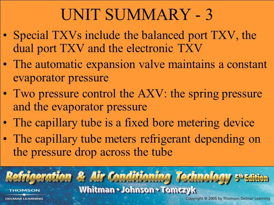 UNIT SUMMARY - 3 Special TXVs include the balanced port TXV, the dual port TXV and the electronic TXV.