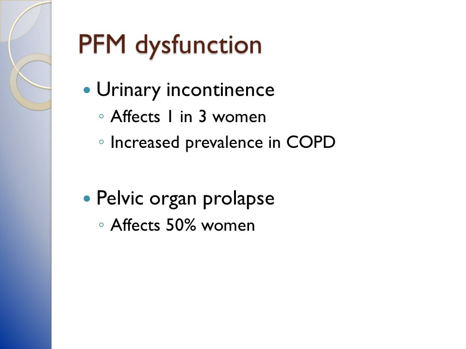 PFM dysfunction Urinary incontinence Pelvic organ prolapse