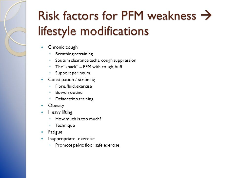 Risk factors for PFM weakness  lifestyle modifications