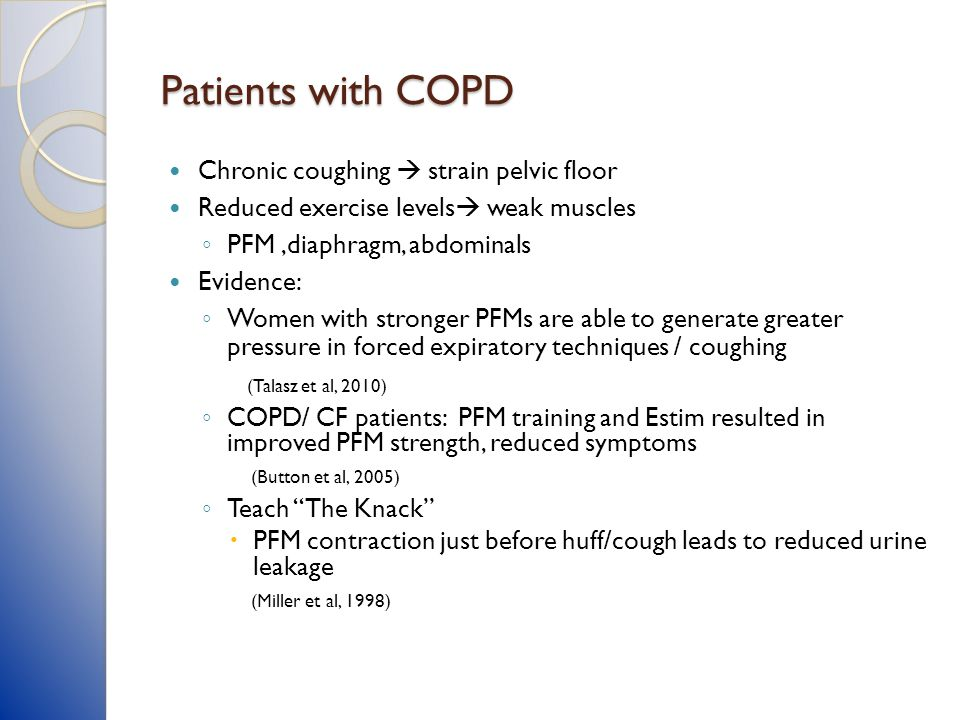 Patients with COPD Chronic coughing  strain pelvic floor