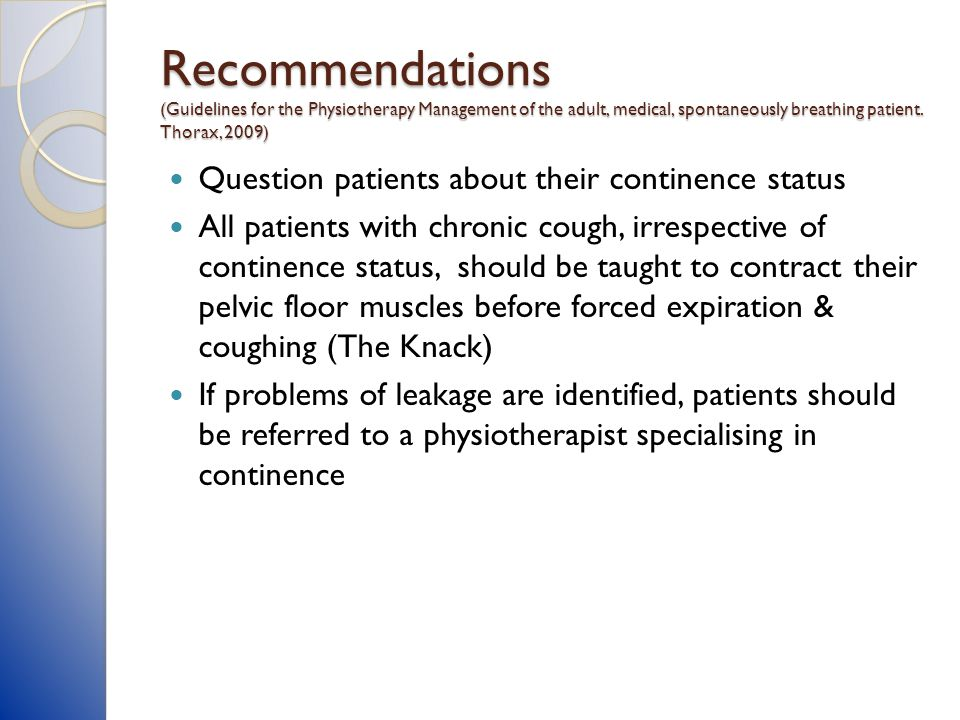 Recommendations (Guidelines for the Physiotherapy Management of the adult, medical, spontaneously breathing patient. Thorax, 2009)