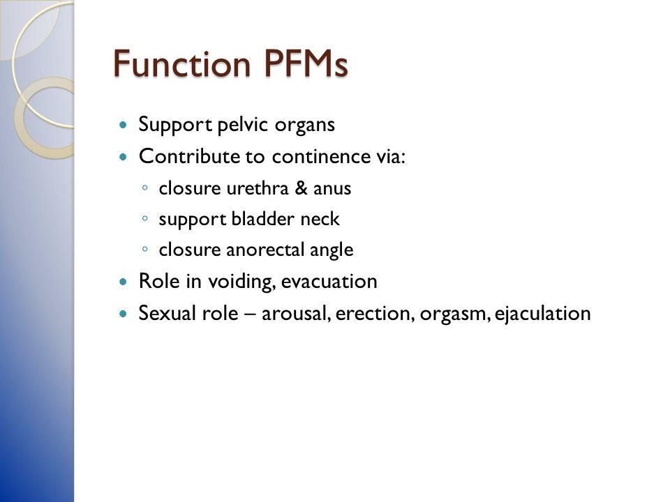 Function PFMs Support pelvic organs Contribute to continence via: