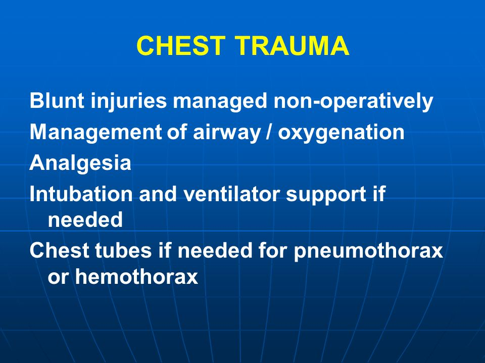 CHEST TRAUMA Blunt injuries managed non-operatively