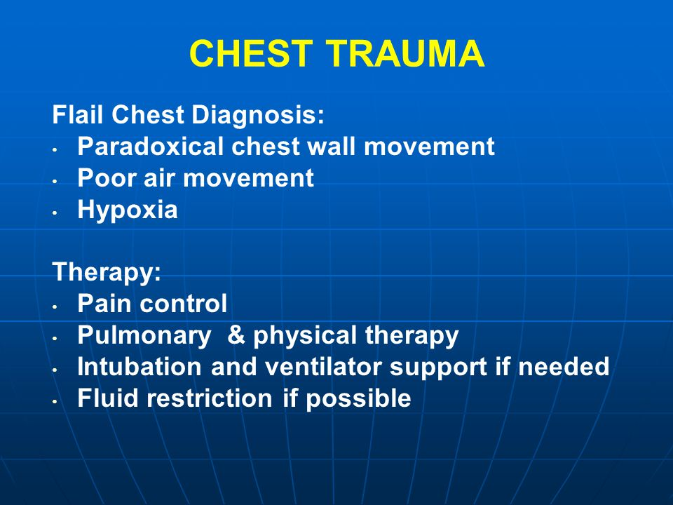 CHEST TRAUMA Flail Chest Diagnosis: Paradoxical chest wall movement
