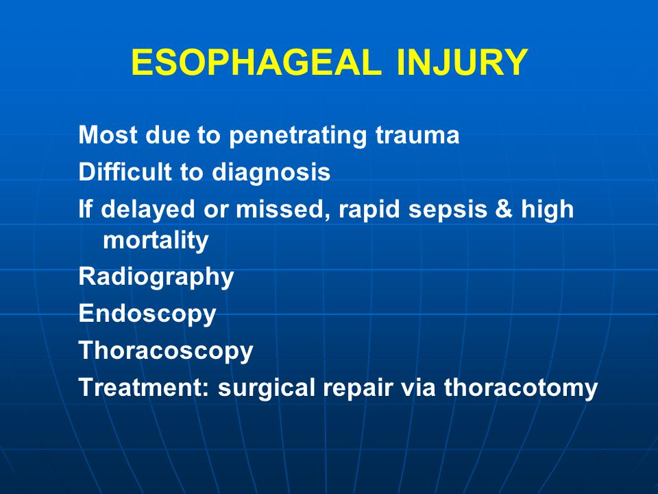 ESOPHAGEAL INJURY Most due to penetrating trauma
