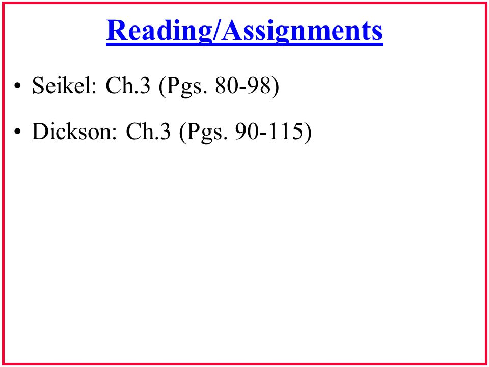 Reading/Assignments Seikel: Ch.3 (Pgs. 80-98)