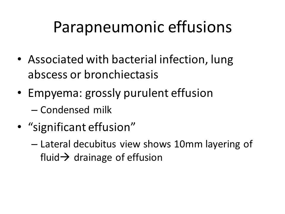 Parapneumonic effusions